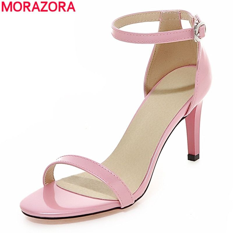 MORAZORA 2018 new fashion women sandals ankle strap high heels summer simple sweet wedding shoes woman pink white blue black