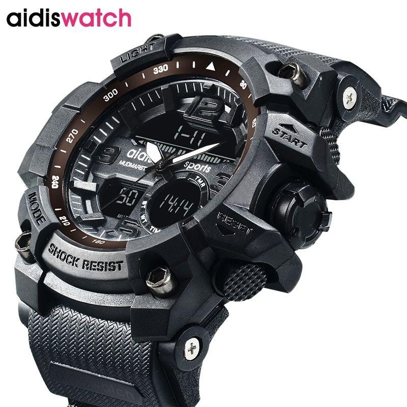 AIDIS brand men's sports watches waterproof military LED digital quartz electronic children watch men clock <font><b>relogio</b></font> masculino