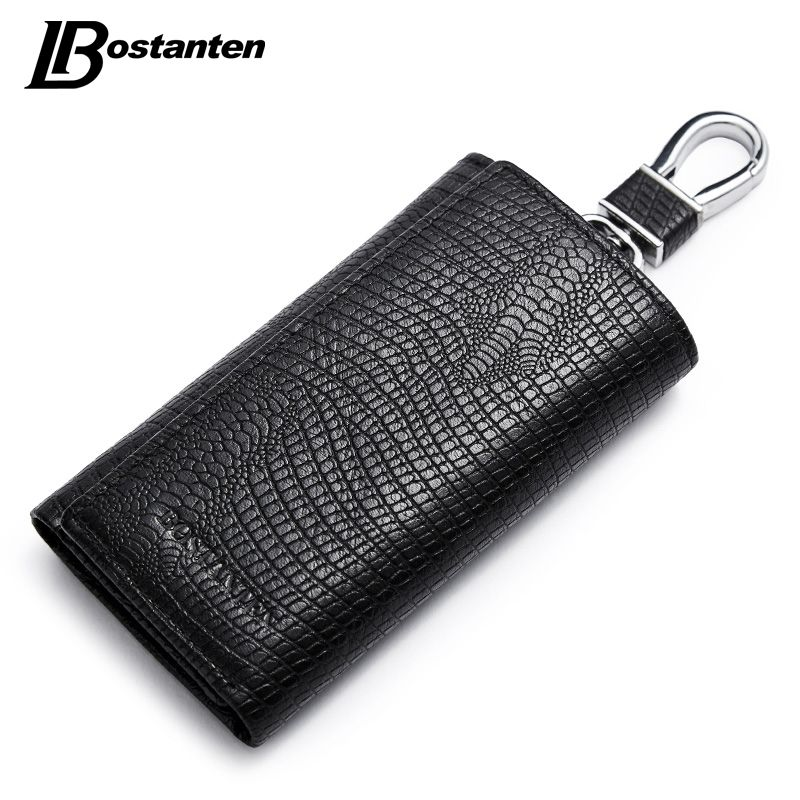BOSTANTEN Genuine Leather Car Key Wallets Vintage Key Holder Credit Card Housekeeper Keys Organizer Keychain Case Bag Key Pouch