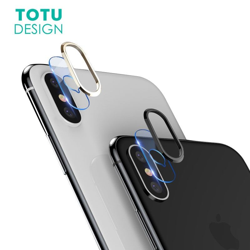 TOTU Transparent Camera Lens Screen Protector For iPhone X 10 Tempered Glass+ Metal Rear Camera Lens Protective Ring For iPhoneX