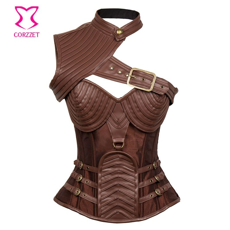 Brown Leather Armor Corset Sexy Gothic Corsets And Bustiers Vintage Steampunk Clothing Corpetes E Espartilhos Plus Size S-6XL
