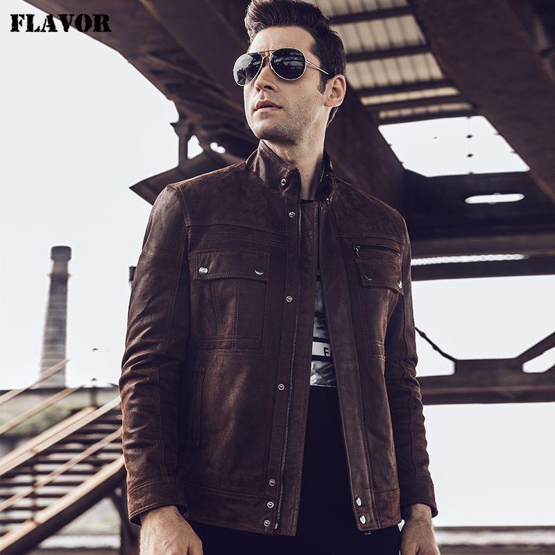 2017 New Men's Retro Real leather jacket Motorcycle coat Autumn Winter Pigskin Genuine Leather Jacket