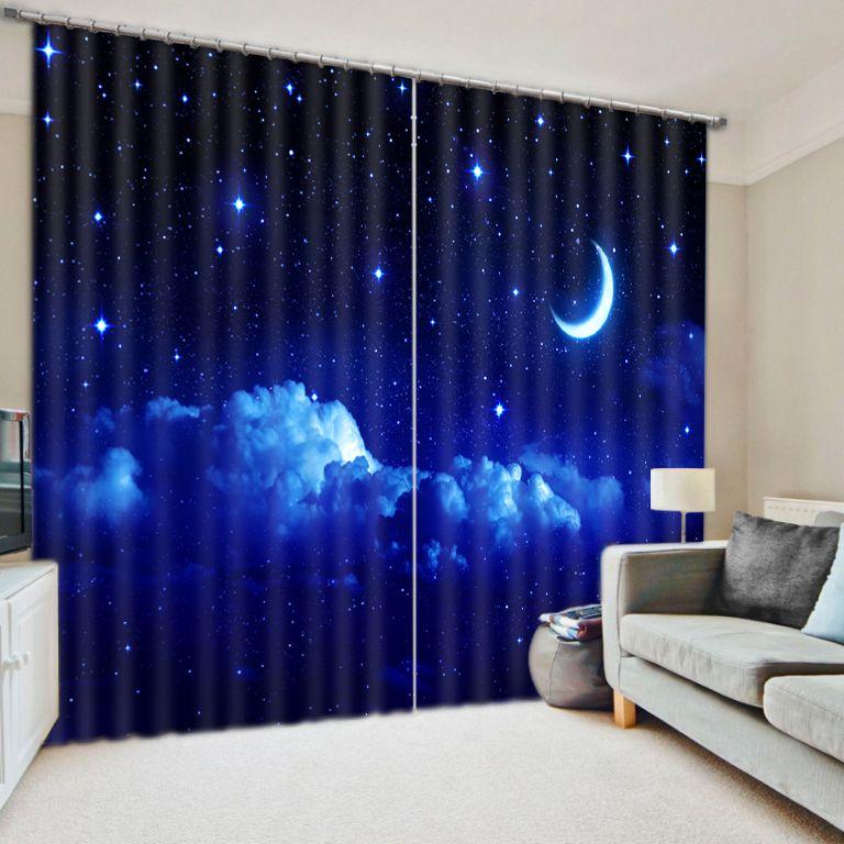 Современная роскошь Фэнтези Луна Star Night 3D Затемненные окна Шторы для детей Постельные принадлежности гостиная hotel шторы Cortinas