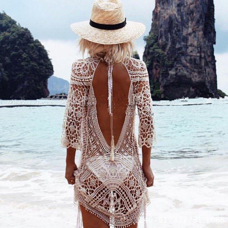 Вязать спинки бикини Cover Ups пляжная одежда
