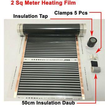 2 квадратных метра инфракрасная нагревательная пленка 50 см * 4 м с аксессуарами Зажимы (зажимы) и изоляционные мазня и черный кран