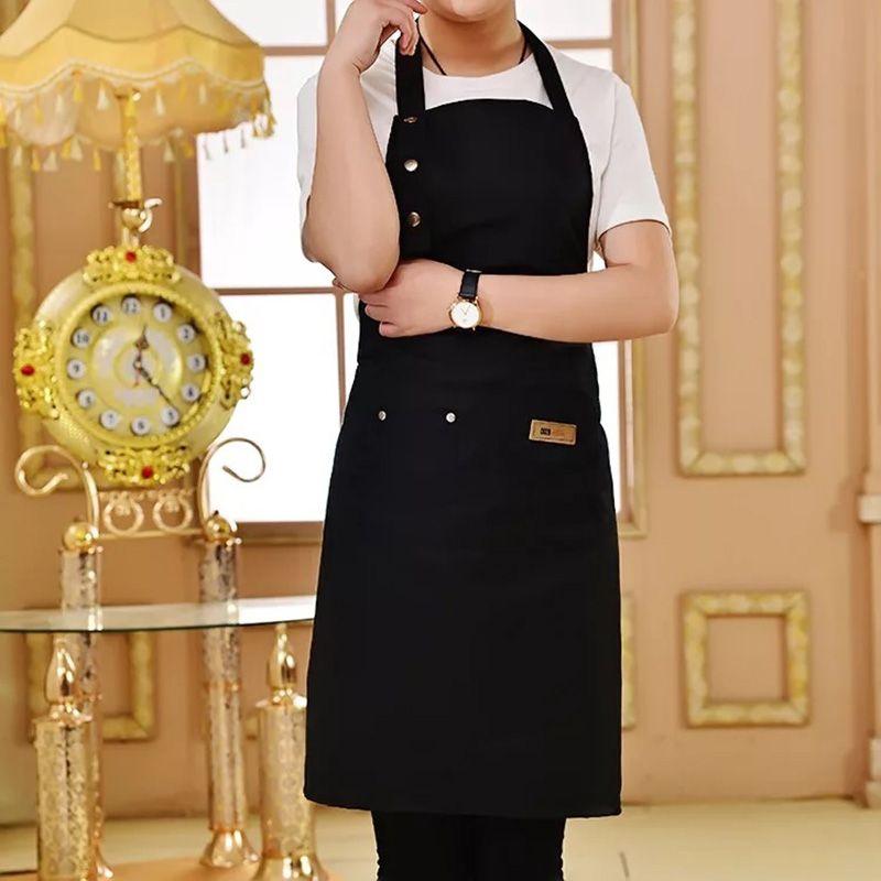 Pur Couleur de Cuisson Tablier De Cuisine Pour Femme Hommes Chef Serveur Café Boutique BARBECUE Coiffeur Tabliers Logo Personnalisé Cadeau Bavoirs En Gros