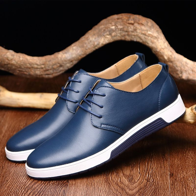 Fashion Summer Men Genuine Leather Flats Shoes Breathable Lace Up Male Casual Shoes Loafers Plus Size 37-47 Chaussure Homme