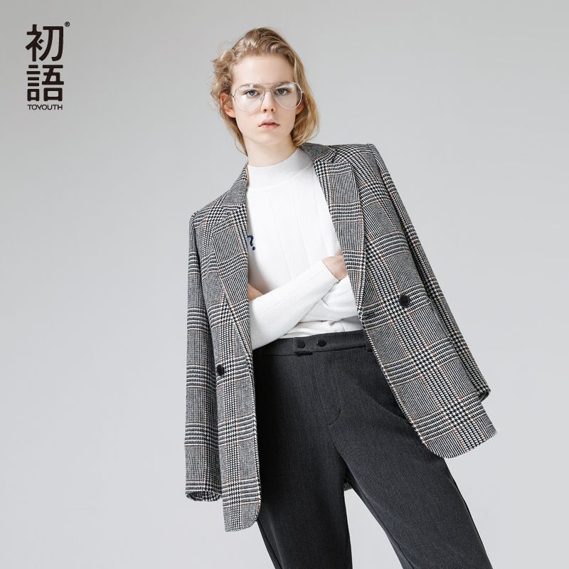 Toyouth Blazers 2017 Autumn Women Fashion Plaid Pattern Single-Breasted All Match Ladies Blazer