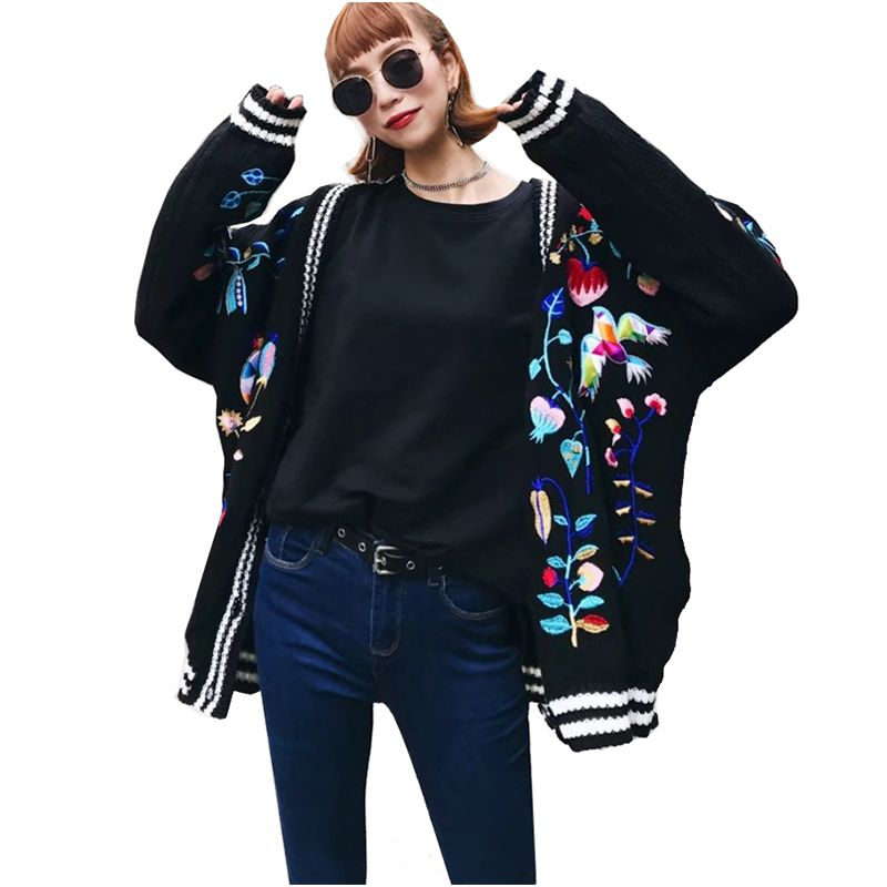 Spring Autumn Korean Fashion Women Knitted Cardigan Coats Floral Birds Embroidered Sweater Jackets Long-sleeved Combed Cotton