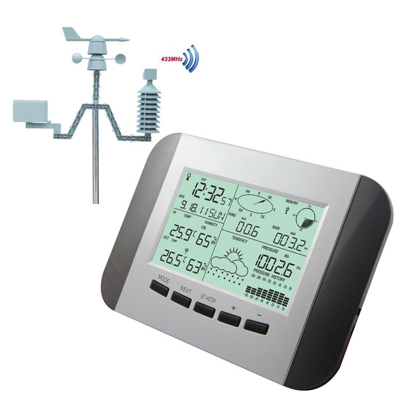 100M Professional Weather Station Thermometer Humidity Rain Pressure Data Recorder With PC Solar Power Wireless Weather Center