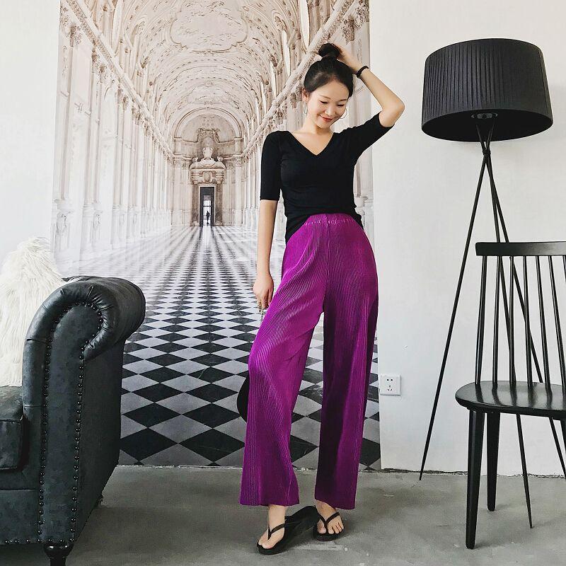 2019 printemps été nouvelle mode femmes Vintage taille haute large jambe pantalon femmes pleine longueur lâche doux mince plissé pantalon dames