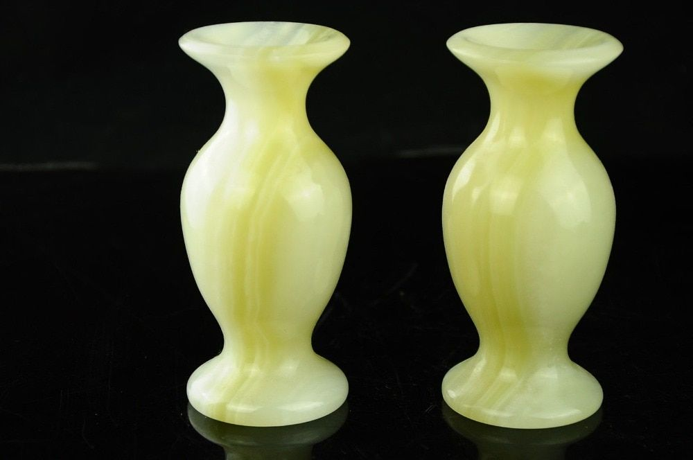collection chinese jade pair of delicate beautiful jade vase