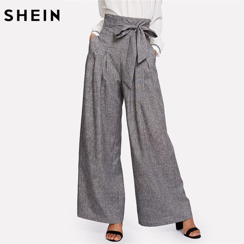 SHEIN <font><b>Wide</b></font> Leg Pants Women Zipper Fly Loose Trousers Women 2018 Grey High Waist Self Belted Box Pleated Palazzo Pants
