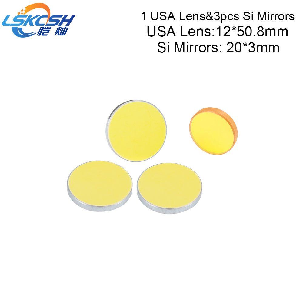 LSKCSH 1 stück D12mm-FL50.8mm Co2 Laser Fokus Objektiv Und 3 stücke D20mm Si reflexion Spiegel Für 40 watt 300 * 200mm Co2 Laser Maschine