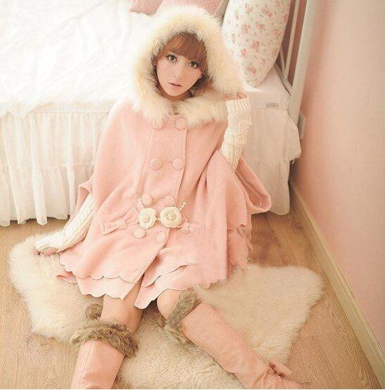 2016 Women Woolen Ruffles Cute Overcoat Cloak Outerwear Flannel Hooded Cape Sweet Coat Kawaii Pink Red Christmas Xmax Clothing