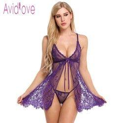 Avidlove Sexy Öffnen Babydoll Lingerie Erotic Hot Sex Kostüm Blumenspitze Short Mini Nachtwäsche Nachtwäsche Exotisches kleid Schwarz