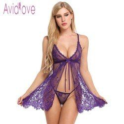 Avidlove Sexy Open Babydoll Lingerie Erotic Hot Sex Costume Floral Lace Short Mini Sleepwear Nightwear Exotic Apparel Black