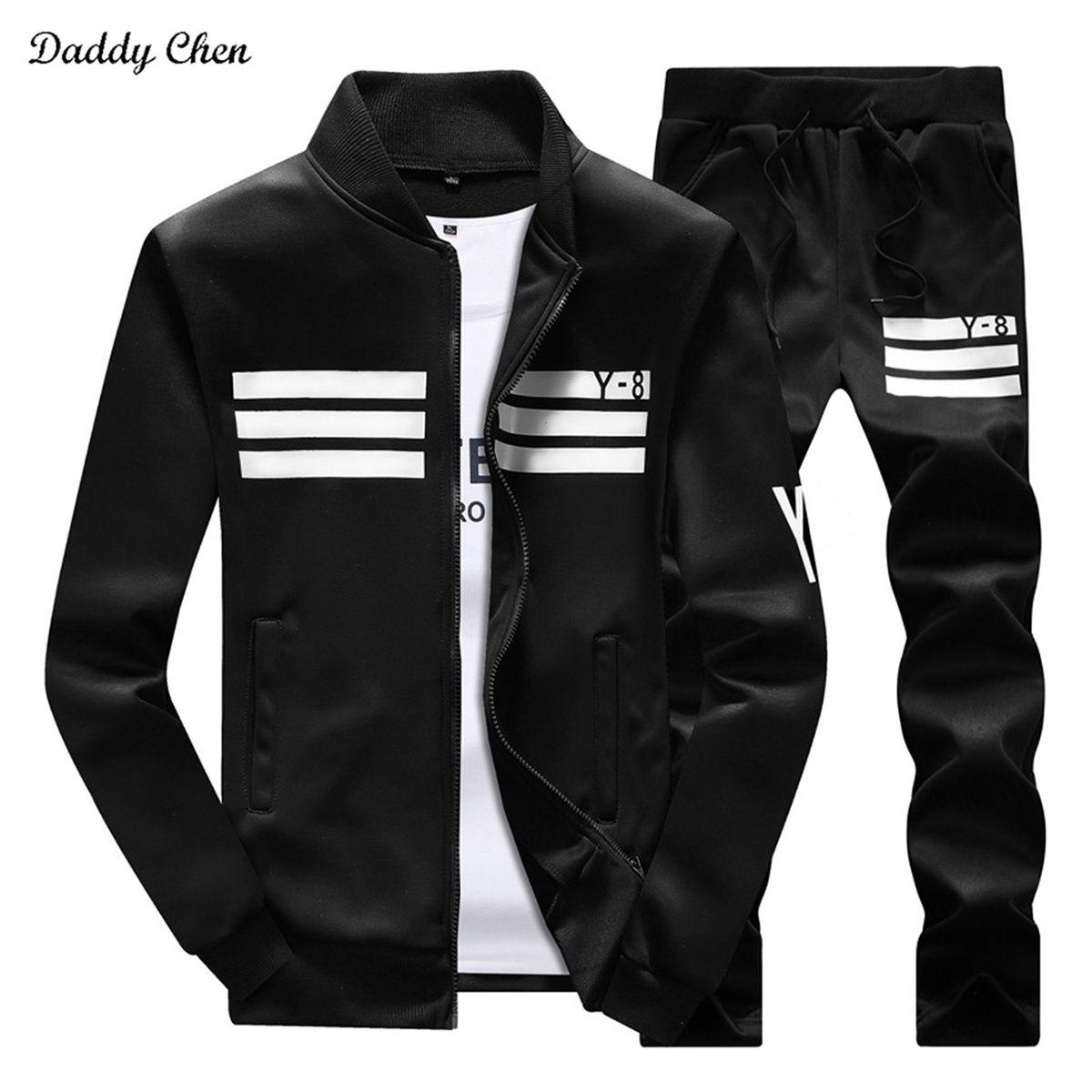 2017 Fashion Casual Men Tracksuit Set Hip Hop <font><b>Track</b></font> Suit Men Sportswear Stand Collar Coat Pants Costume Sets Fitness Plus Size