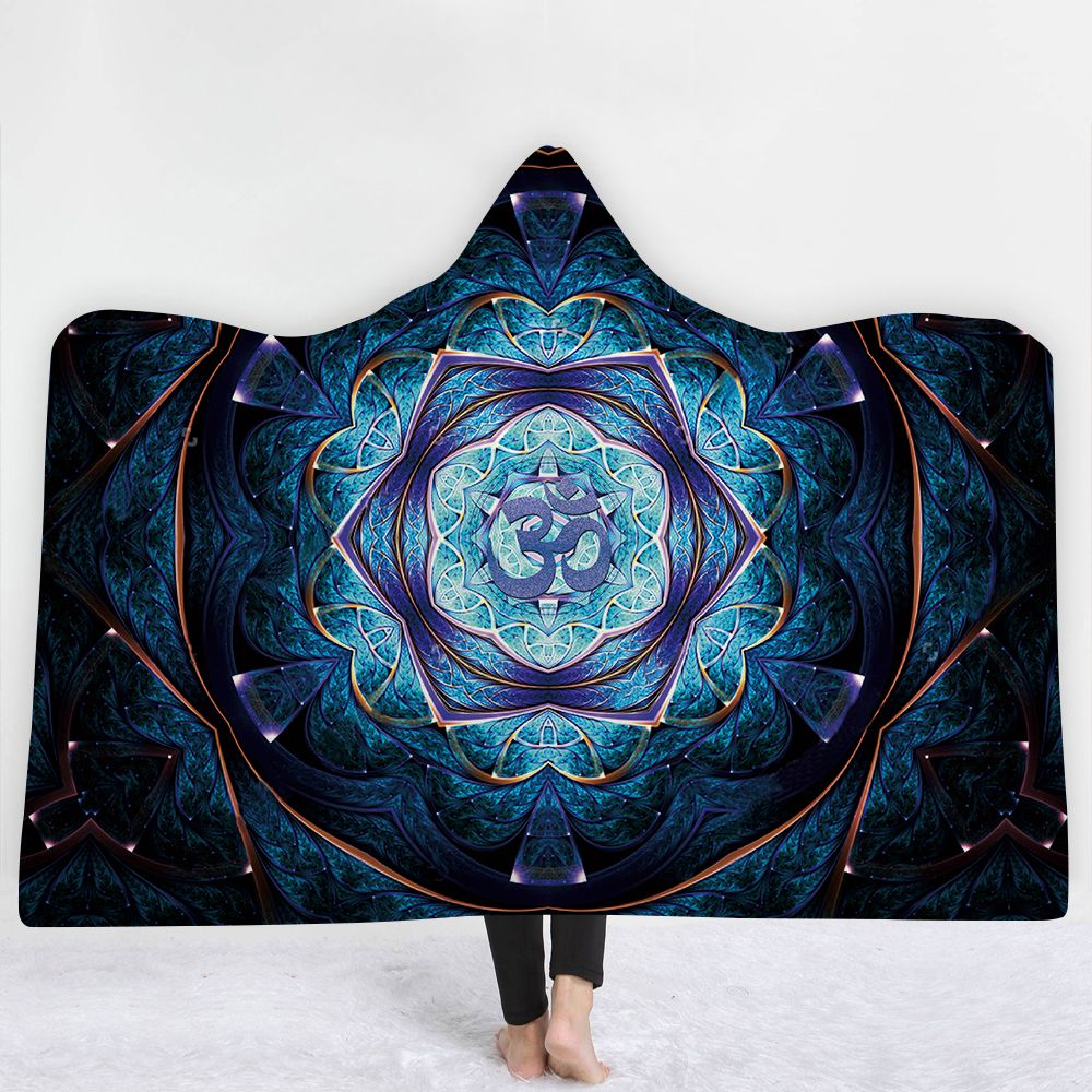 3D Printed Plush Blue Hooded Blankets for Adults Kid Warm Wearable Fleece Woman Throw Blankets Microfiber Cloak on Sofa