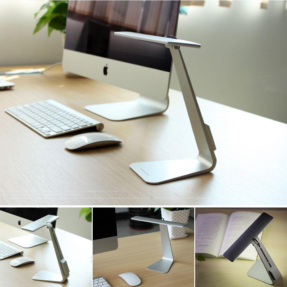 WoodPow ultra-mince Mac Style lampe de bureau LED 3 Mode gradation tactile interrupteur pliant lecture USB Table veilleuse intégré batterie