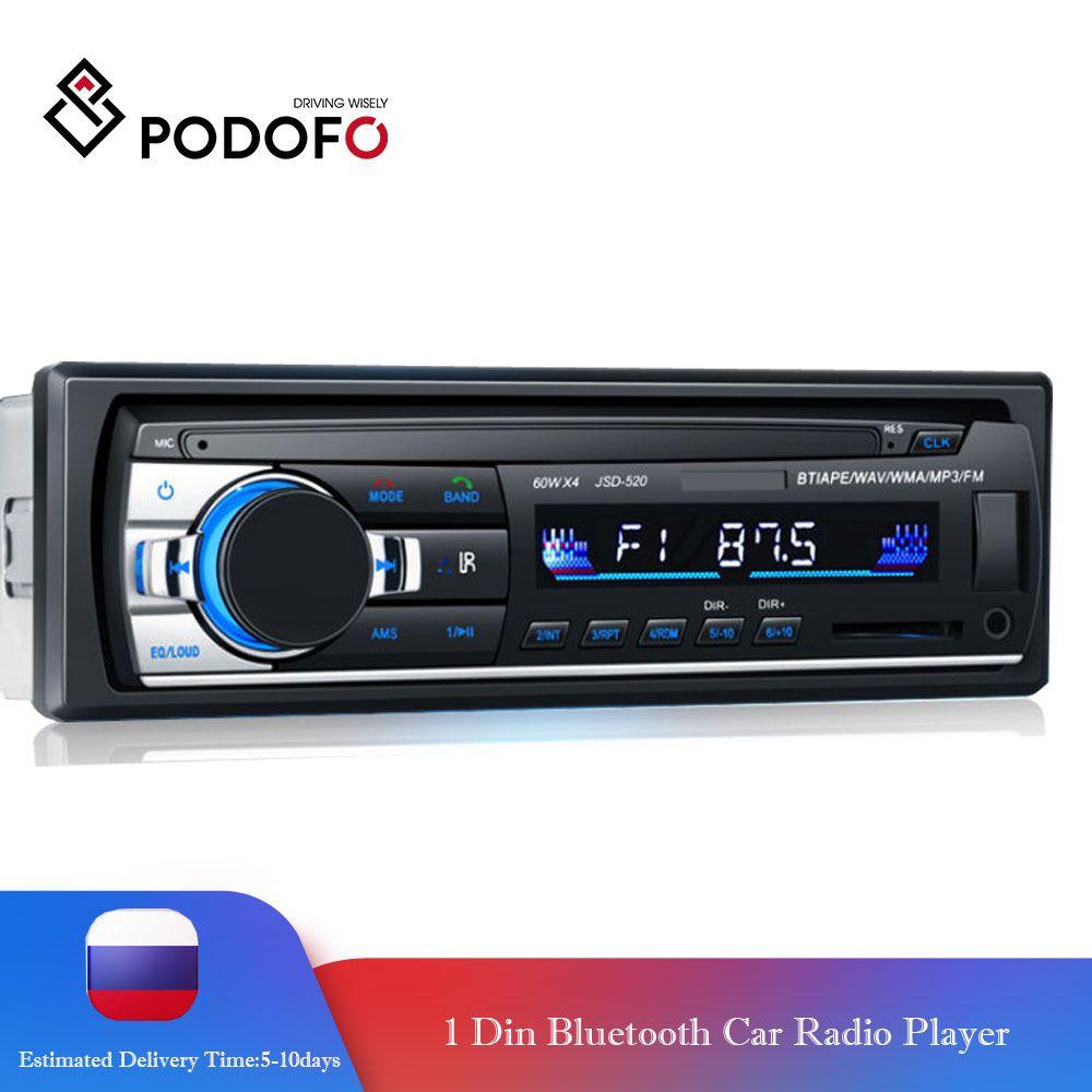 Podofo Autoradio stéréo Bluetooth FM Aux entrée récepteur SD USB JSD-520 12V In-dash 1 din Audio MP3 lecteur multimédia