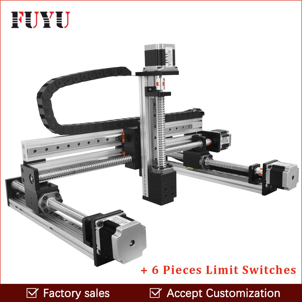 cnc ball screw linear guide rail slide motion actuator XYZ stage table robotic arm Z axis 250mm router with nema 23 motor