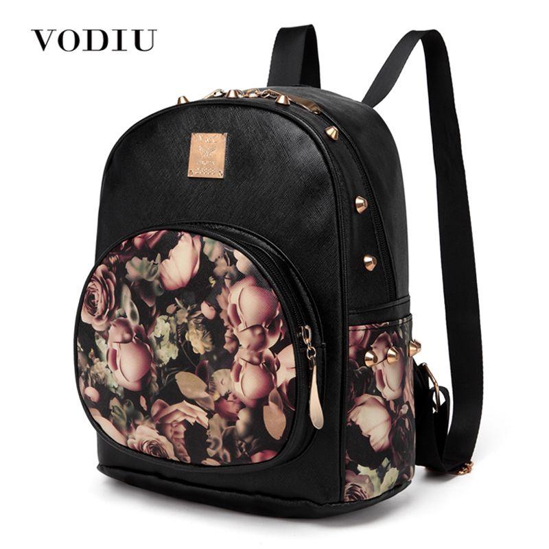 women backpack school bag rivet teenage backpacks for girls leather 3D Printing Floral female Designer backpack laptop fashion