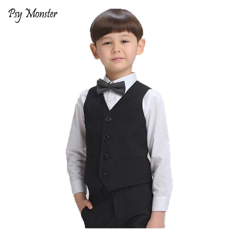 Boys Birthday Dress Prince Formal Vest Brand England Style Gentle Boys Wedding Waistcoat Kids Party Performance Vest for Boy F31