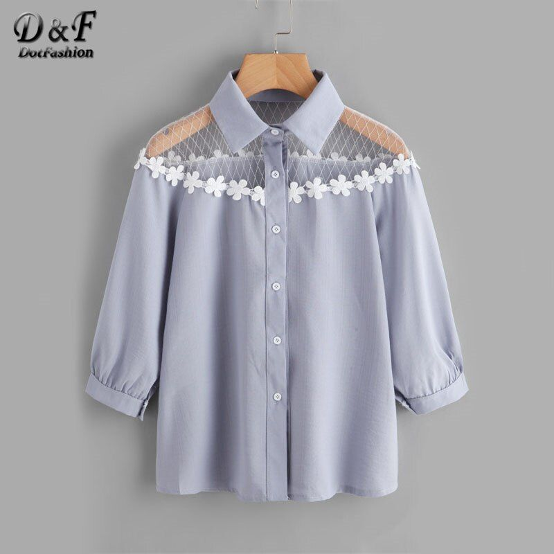 Dotfashion Flower Lace Insert Shirt Blue Lapel <font><b>Equipment</b></font> Button Women Top And Blouse 2017 Autumn 3/4 Sleeve Cute Blouse