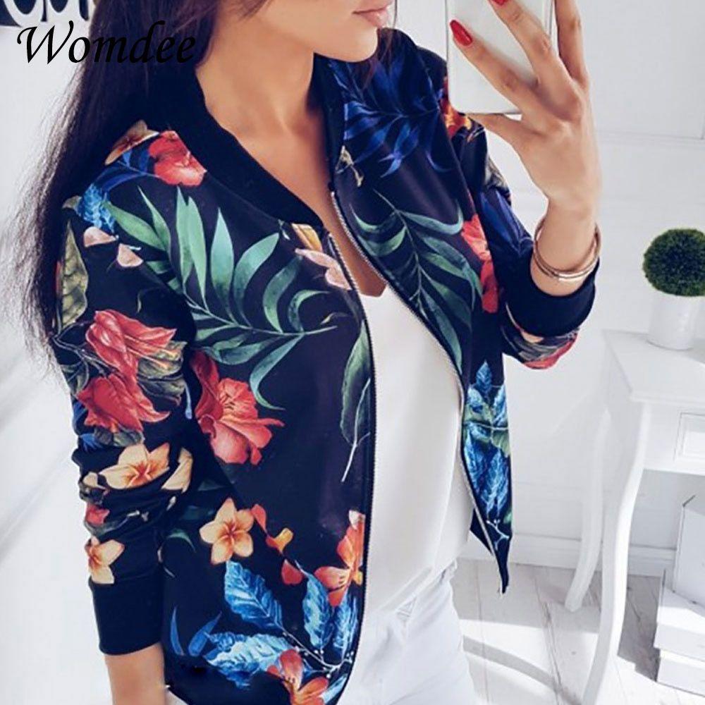 2018 femmes manteau rétro imprimé Floral Zipper Up veste décontracté manteau automne manches longues Outwear femmes basique veste Bomber Famale 5XL