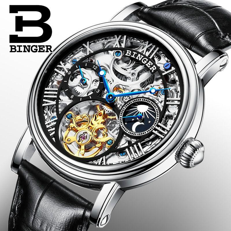 Schweiz BINGER Uhren Männer luxus marke Tourbillon Relogio Masculino wasserdicht Skeleton Mechanische Uhr B-1171-3