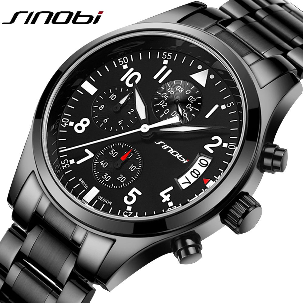 SINOBI Sports Military Quartz Watch Men's Top Luxury Brand Stainless Steel Band Clock Male Chronograph Clock Boy Wrist watch New