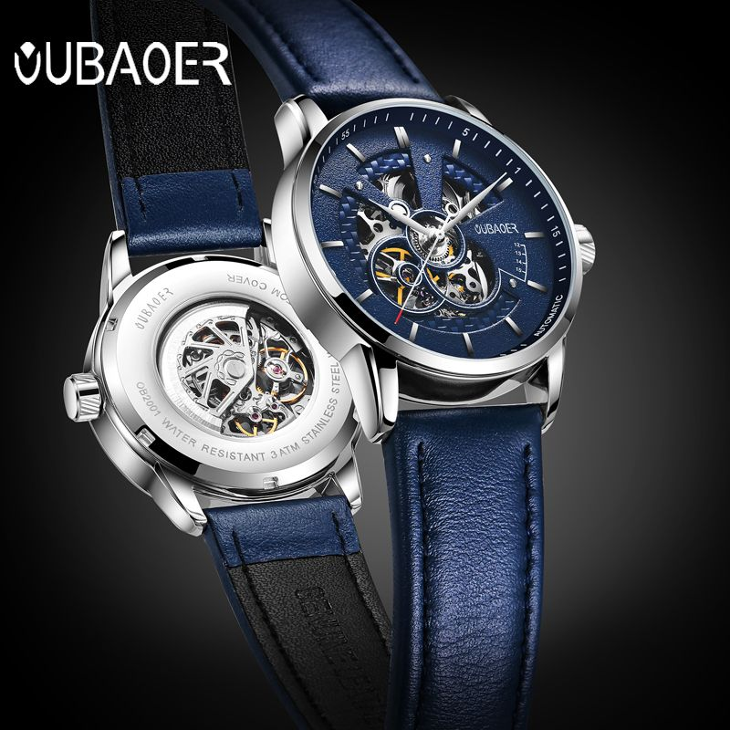 OUBAOER Original Men Watch Top Brand Luxury Automatic Mechanical Watch Leather Military Watches Clock Men <font><b>Relojes</b></font> Masculino