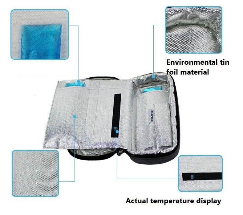 2018 portable bolso más fresco insulina diabética viaje más frío refrigeración caja termica 4-24 grados centígrados pantalla