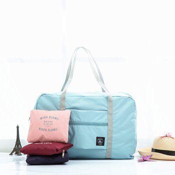 Nylon impermeable bolsas de viaje mujeres hombres de gran capacidad bolso de lona plegable organizador cubos de embalaje equipaje chica semana