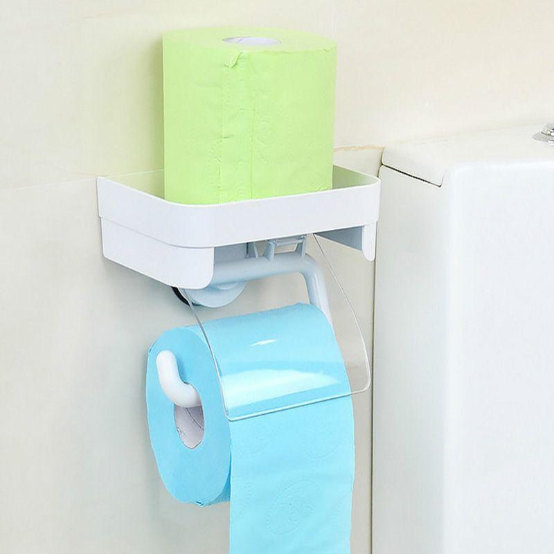 Dehub Porte Papier Toilette Avec Étagère De Rangement Ventouse Porte Papier Toilette Porte-Serviette en Papier Avec Plateau Salle De Bains Accessoires
