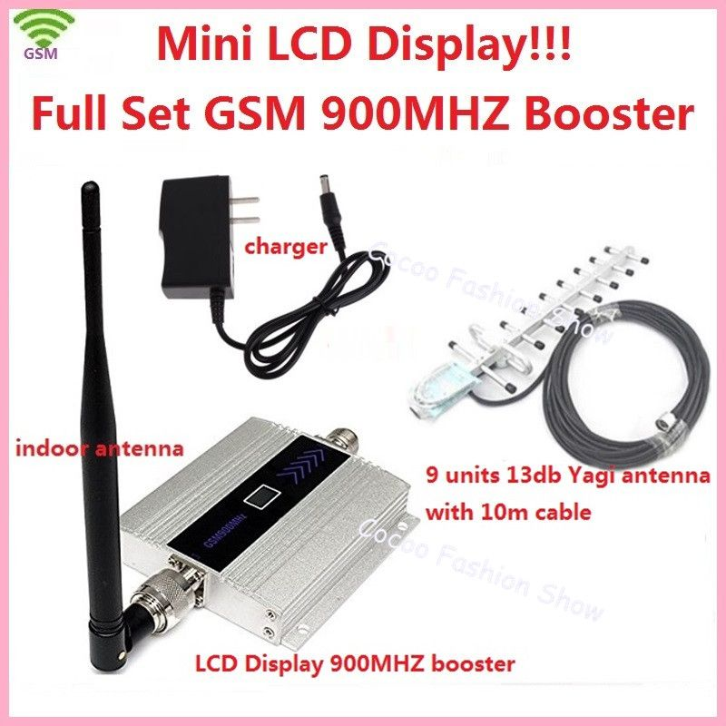 LCD Display ! FDD Mobile Phone GSM 900MHz Signal Booster GSM Signal Repeater , GSM signal amplifier with antenna cable full set