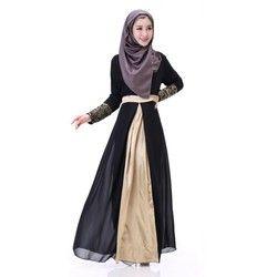 Wanita Muslim Elegan Bordir Manset Renda Gaun Abaya Islam Chiffon Gaun Wanita Maxi Gaun