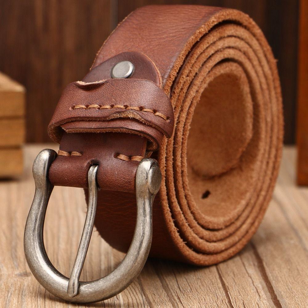 2018 femmes designer ceinture hommes de haute qualité de luxe 100% réel complet grain véritable chameau en cuir cowboy 3.8 cm doux jeans brun large