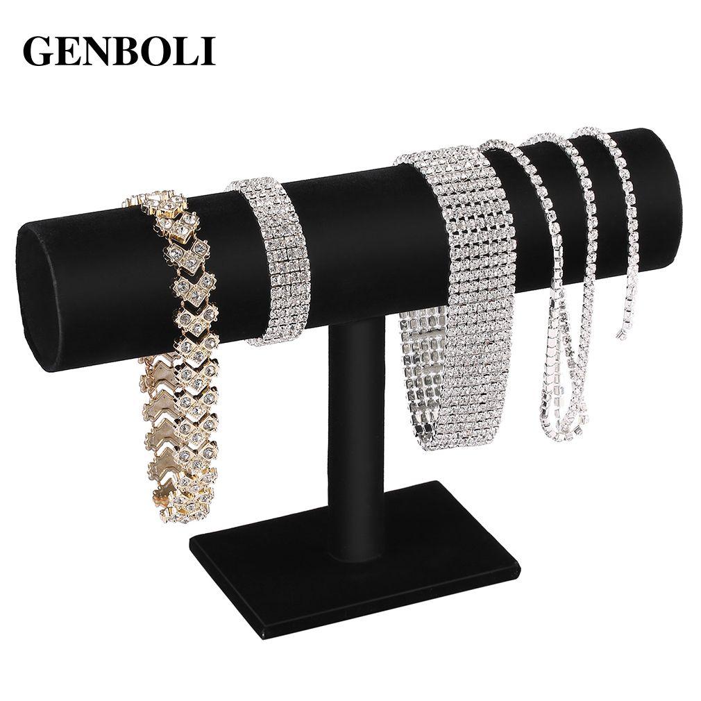 GENBOLI Black Velvet/Leather T Bar Rack Organizer Hard Stand Holder for Bracelet Chain Necklace Watch Fashion Jewelry Display
