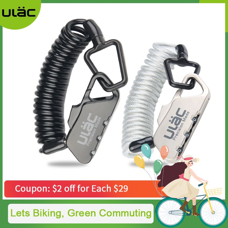 ULAC Mini Bike Lock 1200mm Fold Backpack Cycling Helmet Bicycle Cable Lock 3 Digit Combination Anti-theft Bike Bicycle Lock