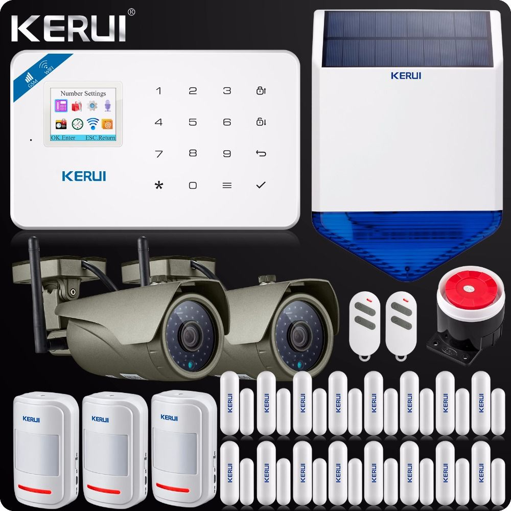 WIFI GSM Einbrecher Home Security Alarm System Touch Screen 1080 P Wifi IP kamera Outdoor Solar Sirene ISO Android Smart APP