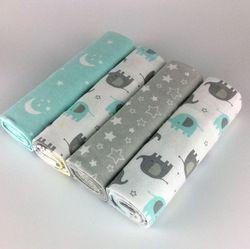 NOUVELLE couleur 4 pcs/pack 100% coton flanelle recevant couverture de bébé nouveau-né coloré cobertor bébé drap supersoft couverture 76x76 cm