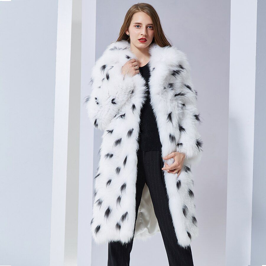 real fox fur coat fashion Knitted natural Knitted turn down collar long coat soft warm women fox fur coats real fox Jacket