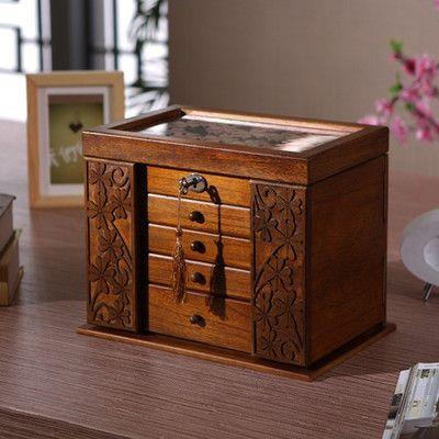 La nouvelle boîte à bijoux en bois boîte de rangement rétro bois trèfle boîtes à cosmétiques avec serrure offre spéciale boîte d'organisation 34*23*25 cm