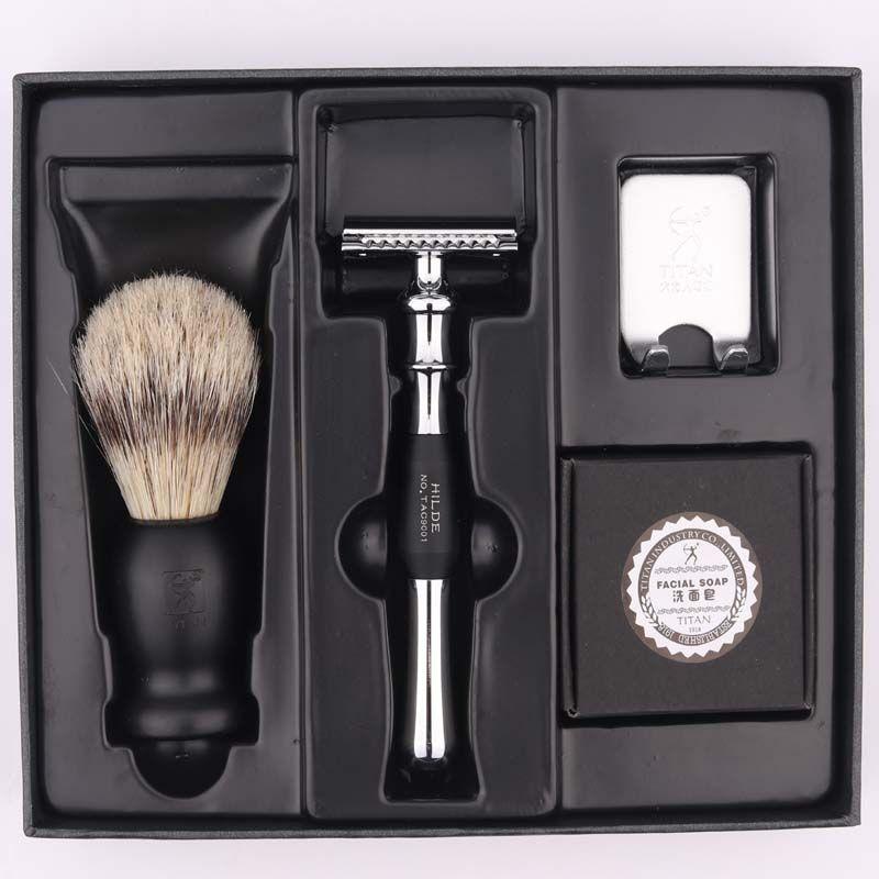 Ensemble de rasoir de sécurité double bord Titan rasoir avec brosse savon livraison gratuite ensemble de rasoir