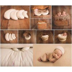 3 Pcs/set PU Kulit Bayi Fotografi Kostum Bulan Berpose Alat Peraga Bayi Bantal Bayi Baru Lahir Fotografi Alat Peraga Keranjang Filler Fotografi