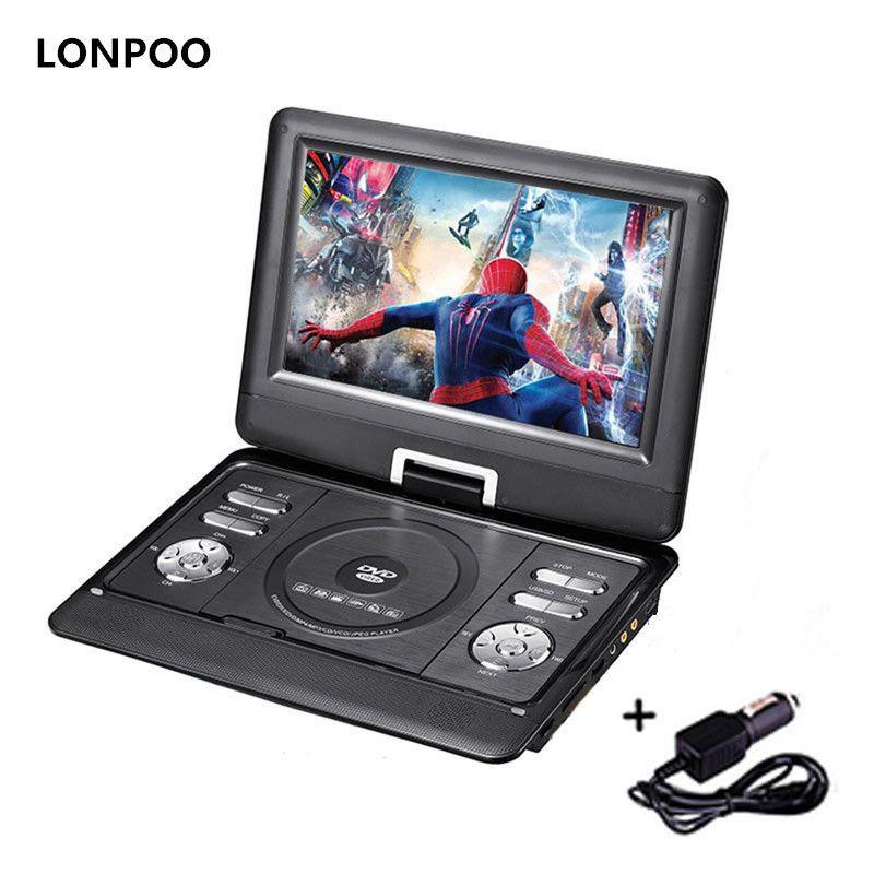 Lecteur DVD Portable LONPOO 10.1 pouces lecteur DVD pivotant DIVX USB Portable TV Portable lecteur DVD TV chargeur de voiture RCA avec batterie