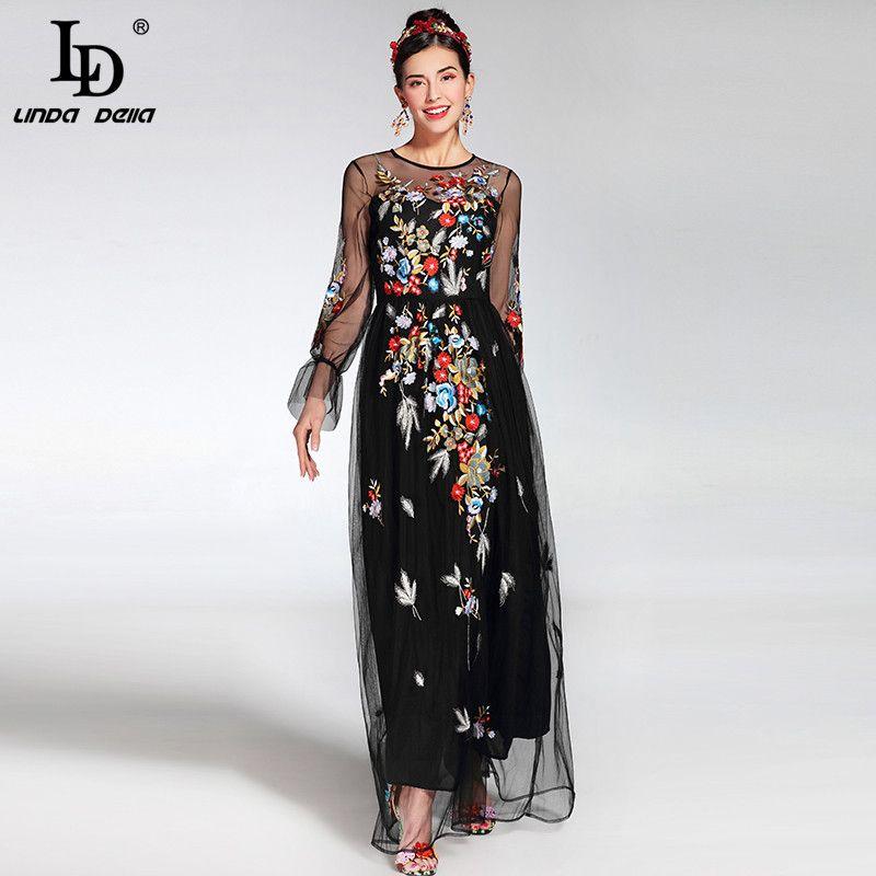 2019 Fashion Runway Maxi Kleid frauen elegante Langarm Tüll Gaze Blume Floral Stickerei Schwarz Vintage Langes Kleid