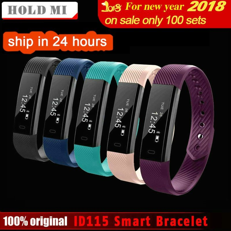 HoldMi ID115 Smart Bracelet Fitness Tracker Step Counter Activity Monitor Band <font><b>Alarm</b></font> Clock Vibration Wristband IOS Android phone